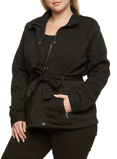 Plus Size Knit Jacket with Belt,BLACK,large