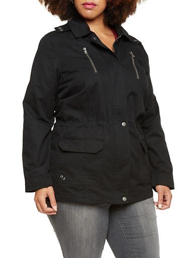 Plus Size Hooded Jacket with Drawstring Waist,BLACK,large