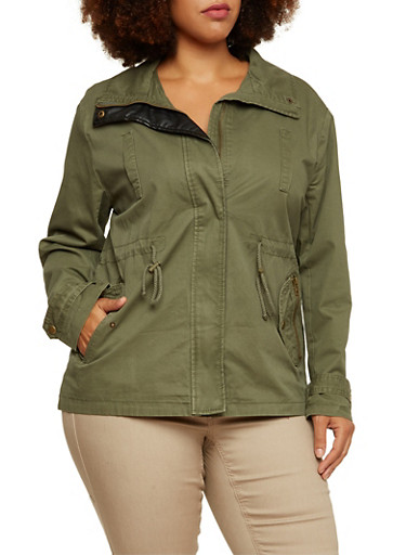 Plus Size Zip Up Jacket with Faux Leather Panel,OLIVE,large