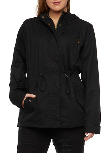Plus Size Jacket with Drawstring Waist Cinch,BLACK,large