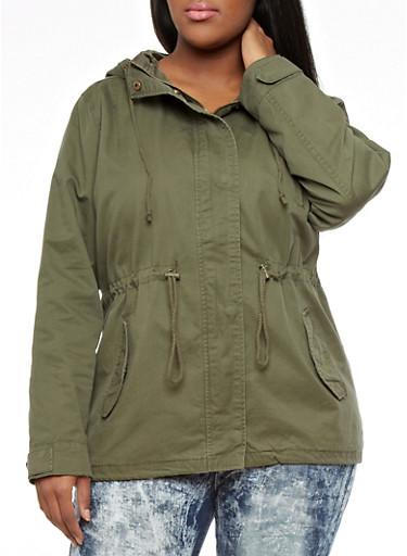 Plus Size Hooded Parka,OLIVE,large