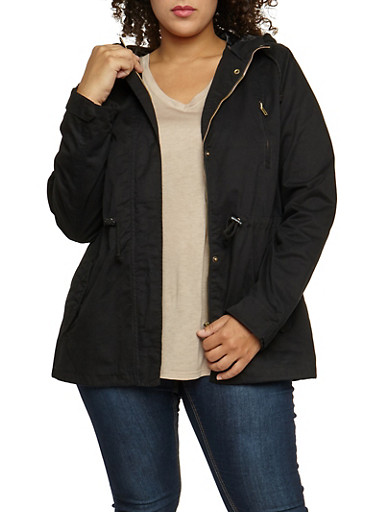 Plus Size Solid Hooded Anorak Twill Jacket,BLACK,large