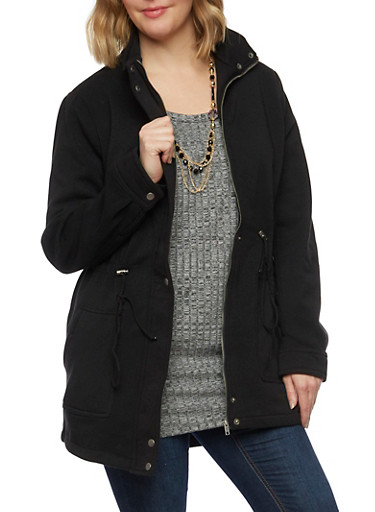 Plus Size Coat with Drawstring Waist,BLACK,large