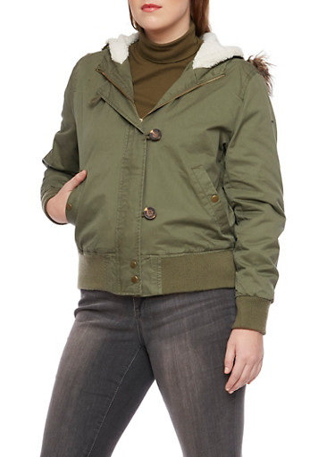 Plus Size Hooded Jacket with Faux Fur Trim,OLIVE,large