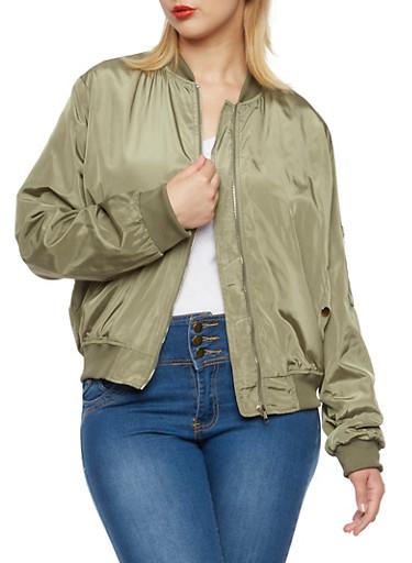 Plus Size Bomber Jacket with Pockets,OLIVE,large