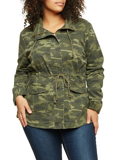Plus Size Jacket in Camo Print,OLIVE,large