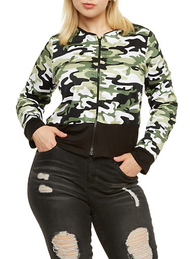 Plus Size Bomber Jacket in Camo Print,OLIVE,large