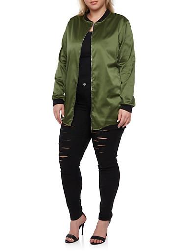 Plus Size Satin Bomber Jacket,OLIVE,large