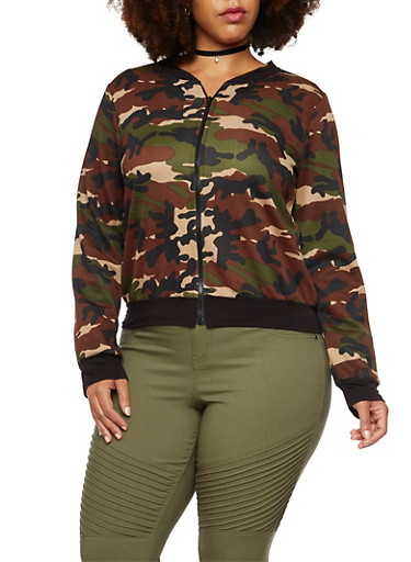 Plus Size Knit Bomber Jacket in Camo Print,OLIVE,large