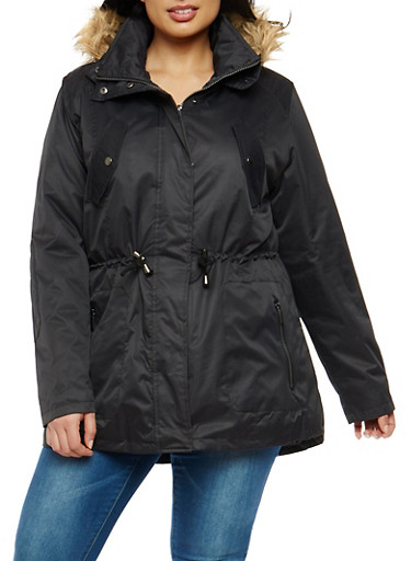 Plus Size Lined Anorak Jacket with Sherpa Hood,BLACK,large