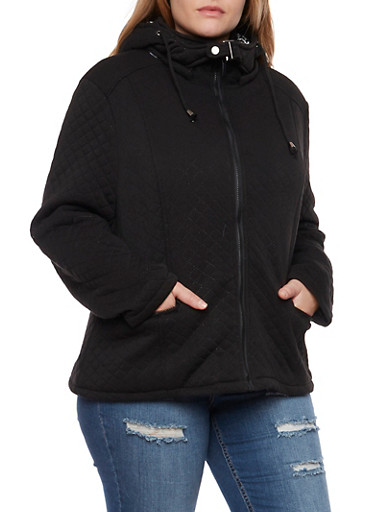 Plus Size Quilted Jacket with Hood,BLACK,large