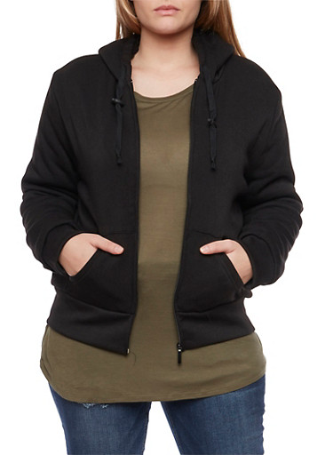 Plus Size Zip Hoodie with Sherpa Lining,BLACK,large