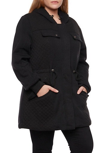 Plus Size Quilted Coat with Drawstring Waist and Hood,BLACK,large