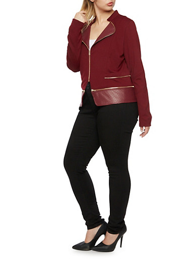 Plus Size Moto Jacket with Quilted Panels,WINE,large