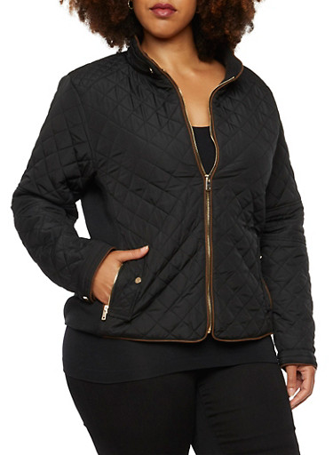 Plus Size Quilted Jacket with Faux Suede Trim,BLACK,large