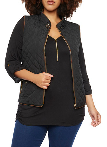 Plus Size Quilted Vest with Faux Suede Trim,BLACK,large