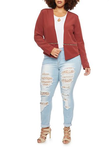 Plus Size Blazer with Zipper Hem,WINE,large