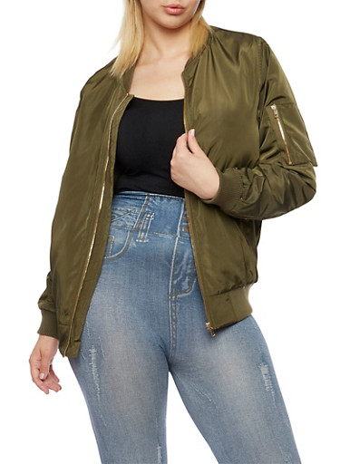 Plus Size Satin Bomber Jacket with Snap Pockets,OLIVE,large