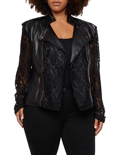 Plus Size Faux Leather Moto Jacket with Lace,BLACK,large