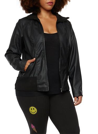 Plus Size Faux Leather Jacket with Paneling,BLACK,large