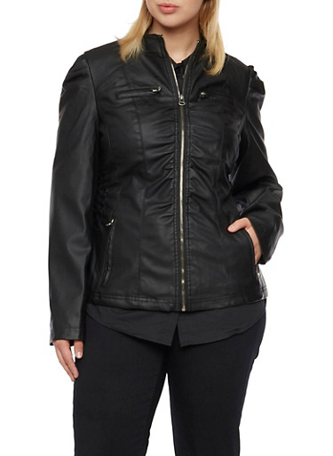 Plus Size Faux Leather Jacket with Ruching,BLACK,large
