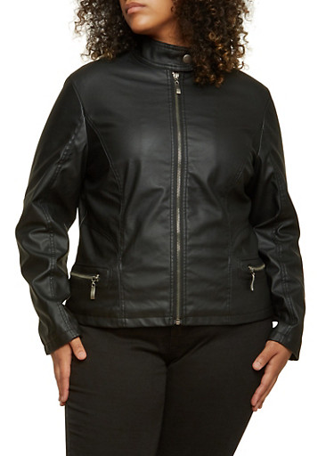 Plus Size Faux Leather Jacket,BLACK,large