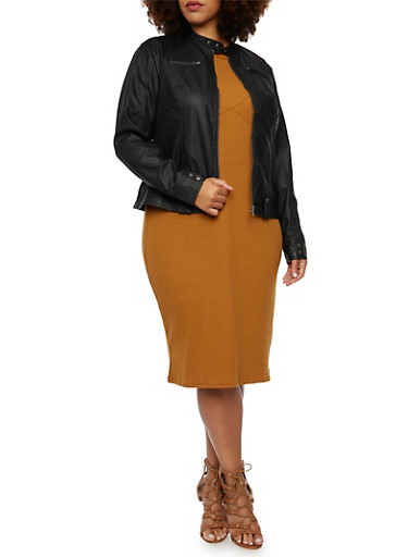Plus Size Faux Leather Jacket with Snap Tab Accents,BLACK,large