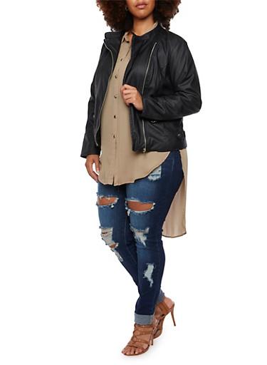 Plus Size Faux Leather Jacket with Moto Paneling,BLACK,large