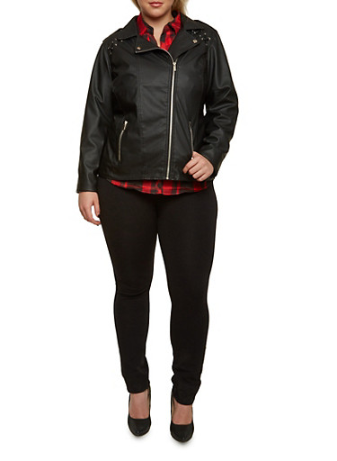 Plus Size Zipper Moto Jacket with Lace-Up Shoulders,BLACK,large
