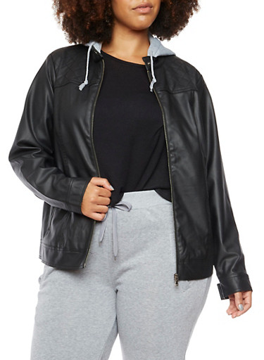 Plus Size Faux Leather Jacket with Fleece Hood,BLACK,large