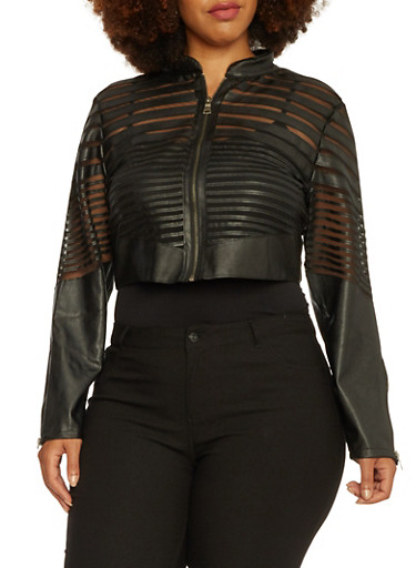 Plus Size Cropped Faux Leather Jacket with Mesh Paneling,BLACK,large