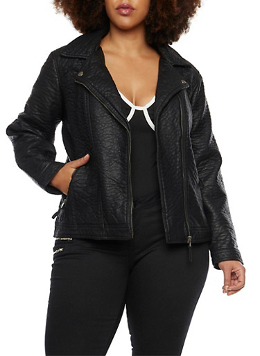 Plus Size Leather Moto Jacket with Zip Pockets,BLACK,large