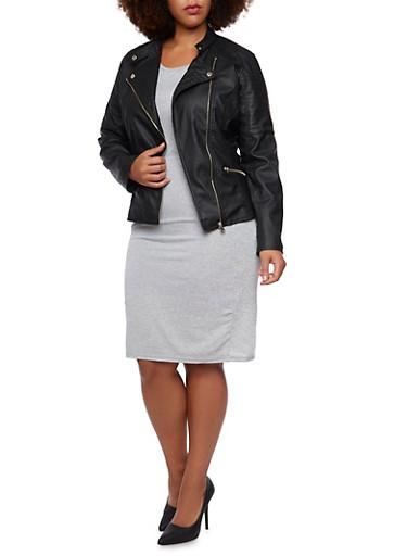 Plus Size Quilted Moto Zip Pockets Jacket,BLACK,large
