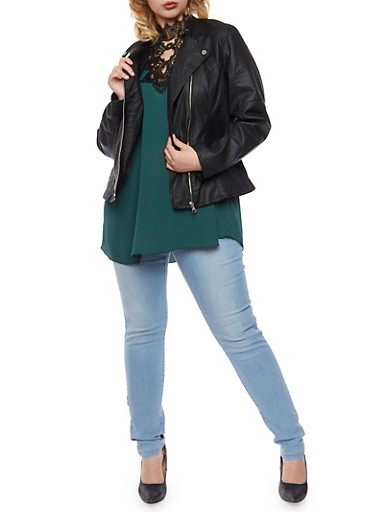 Plus Size Faux Leather Biker Jacket with Stitched Panels,BLACK,large