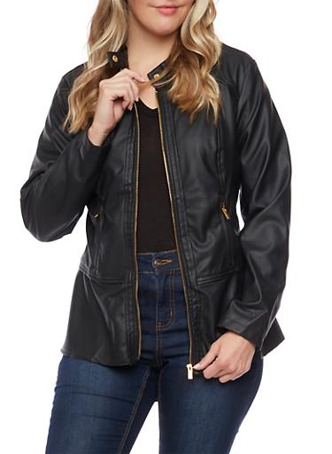 Plus Size Faux Peplum Hem  Leather Jacket,BLACK,large