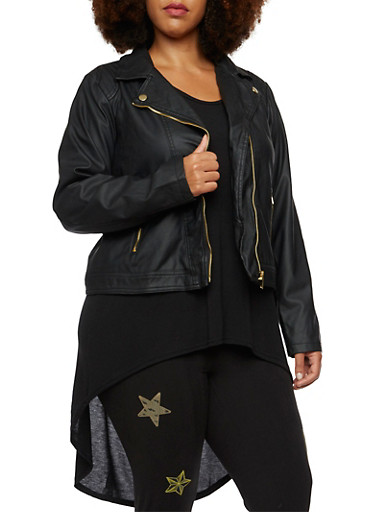 Plus Size Faux Leather Moto Jacket,BLACK,large