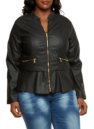 Plus Size Faux Leather Peplum Jacket,BLACK,large