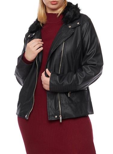 Plus Size Faux Leather Jacket with Faux Fur Trim,BLACK,large