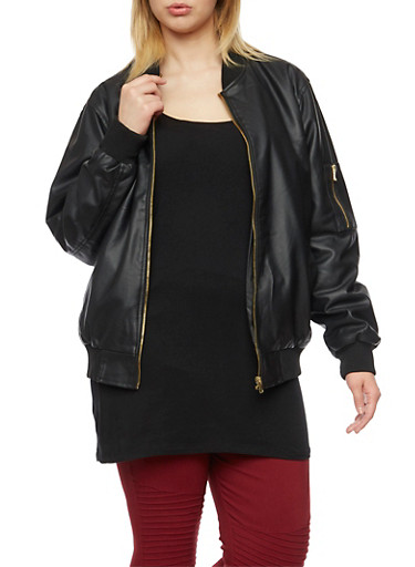 Plus Size Faux Leather Bomber Jacket with Quilted Lining,BLACK,large