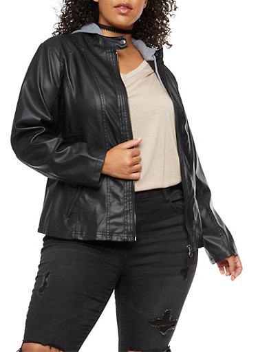 Plus Size Faux Leather Jacket with Fleece Lined Hood,BLACK,large