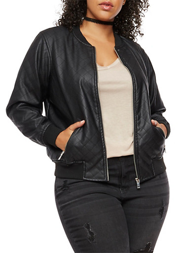 Plus Size Faux Leather Quilted Bomber Jacket,BLACK,large
