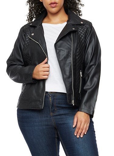 Plus Size Faux Leather Quilted Moto Jacket,BLACK,large