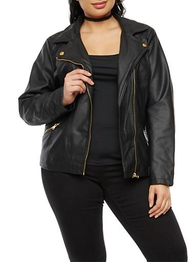 Plus Size Faux Moto Leather Jacket,BLACK,large