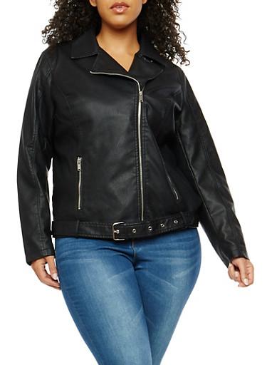 Plus Size Signal Lost Graphic Faux Leather Moto Jacket,BLACK,large