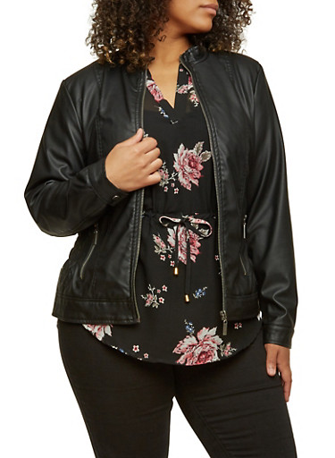 Plus Size Faux-Leather Motorcycle Jacket with Ruching,BLACK,large
