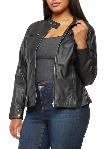 Plus Size Faux Leather Snap Collar Jacket,BLACK,large