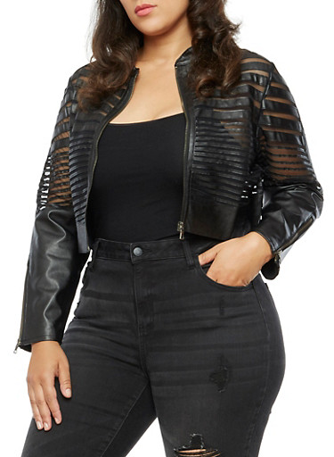 Plus Size Faux Leather Mesh Shadow Stripe Jacket,BLACK,large