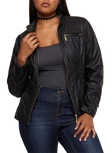 Plus Size Faux Leather Ruched Jacket,BLACK,large