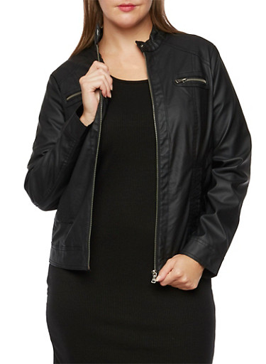 Plus Size Moto Jacket with Button Tab Collar,BLACK,large