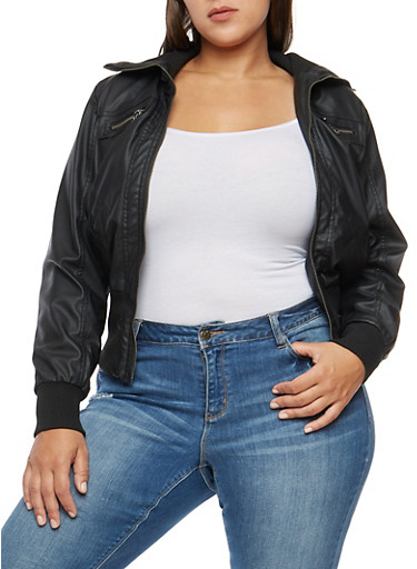 Plus Size Faux Leather Zip Up Jacket at Rainbow Shops in Jacksonville, FL | Tuggl